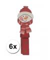 Kerst knijpertjes sneeuwpop 6 stuks