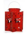 Kerst lantaarn met rendieren rood