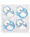 Kerst pinguin kerstbal blauw 4 stuks