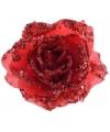 Kerst rode glitter roos met clip