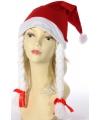Kerst rode kerstmuts met witte vlechten
