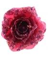 Kerst roze glitter roos met clip