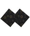 Kerst servetten zwart met gouden sterren