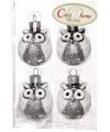 Kerst uilen kerstballen zilver 4 stuks