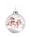 Kerstbal met uiltjes roze