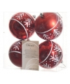 Kerstbal rood tak 4 stuks 8 cm
