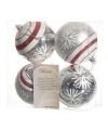 Kerstbal zilver sneeuwvlok 4 stuks 8 cm