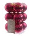 Kerstballen glans en mat roze 12 stuks