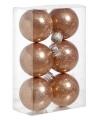 Kerstballen glitter koper 6 stuks