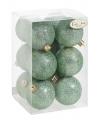 Kerstballen glitter mintgroen 12 stuks