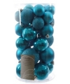 Kerstballen mix blauw 30 stuks