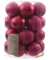 Kerstballen mix fuchsia roze 26 stuks