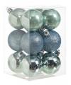 Kerstballen mix mintgroen 12 stuks
