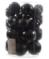 Kerstballen mix zwart 30 stuks 6 cm