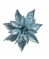 Kerstboom decoratie bloem turquoise 18 cm