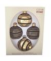 Kerstboom decoratie kerstballen mix zwart goud 4 stuks van glas