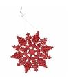 Kerstboom decoratie rode glitter sneeuwvlok 10 cm type 2