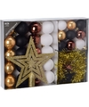 Kerstboom decoratie set 33 delig goud zwart wit