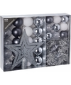 Kerstboom decoratie set 33 delig zilver wit