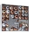 Kerstboom decoratie set 45 delig brons zilver goud