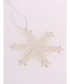 Kersthanger sneeuwvlok gebroken wit glitter