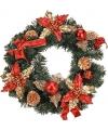 Kerstkrans met goud rode decoratie 40 cm
