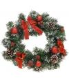 Kerstkrans met rode decoratie 40 cm
