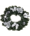Kerstkrans met zilveren decoratie 40 cm