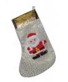 Kerstsok zilver met sterren 52 cm
