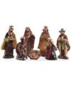 Kerststal figuren met glitters 7 stuks