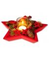 Kerststukje in rode ster 24 cm