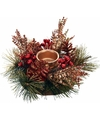 Kerststukje rood goud 25 cm