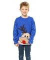 Kersttrui blauw met rendier voor kinderen