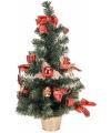 Kleine kerstboom met rode decoratie 60 cm