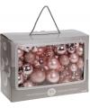 Lichtroze kerstballen 86 delig