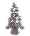 Mini kerstballen zilver 17 stuks 3 cm