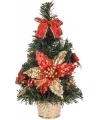 Mini kerstboom met rode decoratie 30 cm