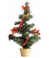 Mini kerstboompje goud rood 36 cm
