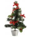Mini kerstboompje zilver rood 36 cm