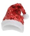 Rode pailletten glitter kerstmuts