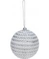 Witte kerstballen met steentjes 7 5 cm