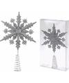 Zilveren kerstboom piek sneeuwvlok