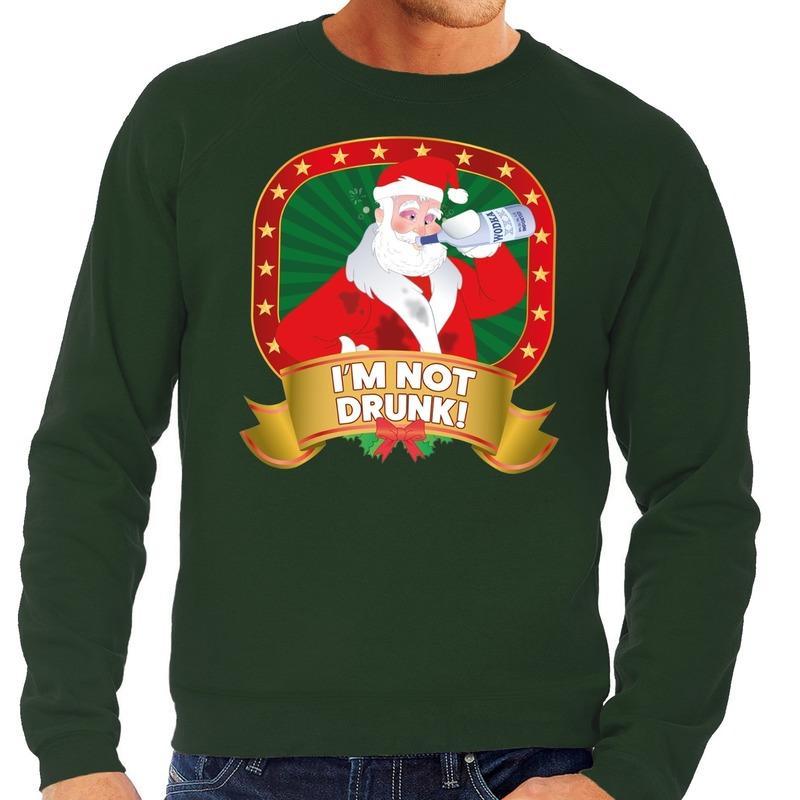 Kersttrui Uitverkoop.Foute Kersttrui Groen Im Not Drunk Voor Heren Bij Kerst Artikelen Nl