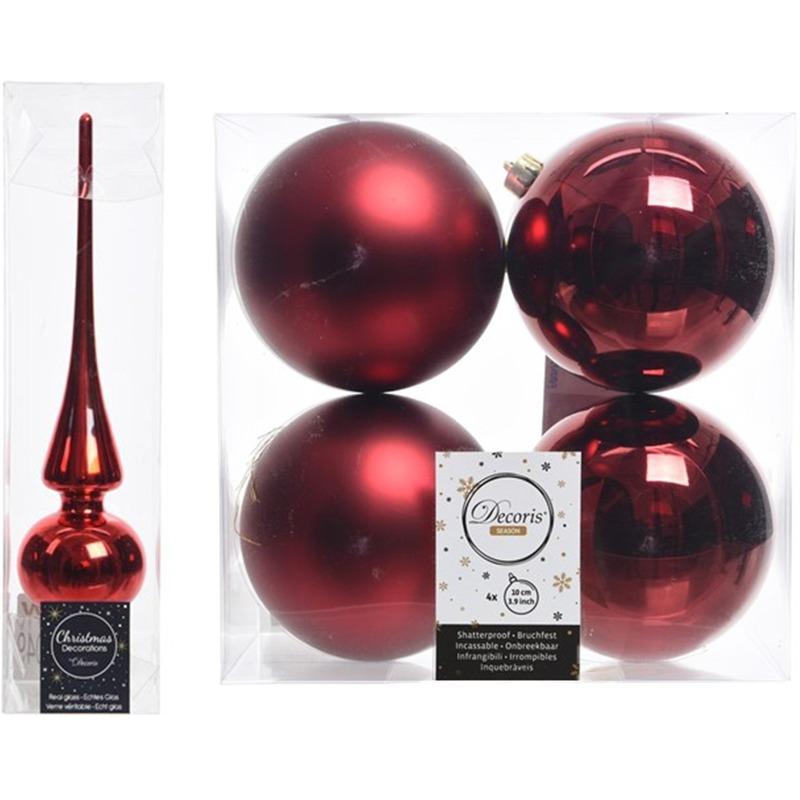 Kerstboom Decoratie Rood Piek En 4x Kerstballen 10 Cm Bij Kerst