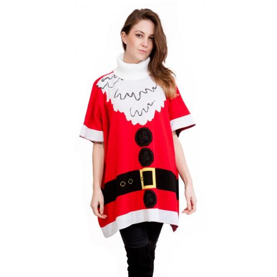 Kersttrui Vandaag Besteld Morgen In Huis.Foute Dames Poncho Kerstvrouw Bij Kerst Artikelen Nl