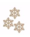 3x kerstboom decoratie koperen sneeuwvlok hanger 10 cm type 1