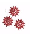 3x kerstboom decoratie rode glitter sneeuwvlok 10 cm type 2