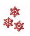 3x kerstboom decoratie rode sneeuwvlok hanger 10 cm type 1