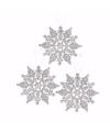 3x kerstboom decoratie zilveren glitter sneeuwvlok 10 cm type 2