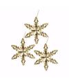 3x kersthanger sneeuwvlok ijsbloem goud type 2